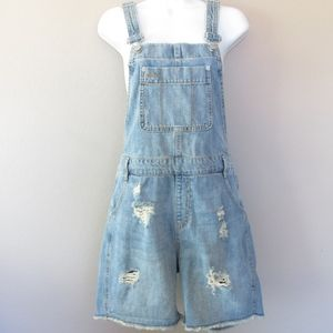 Gap Overall Shorts Light Distressed Holes Ripped